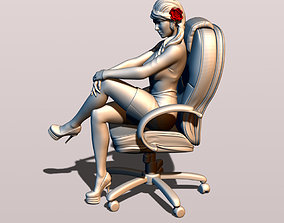 3D print model Girl in an office chair