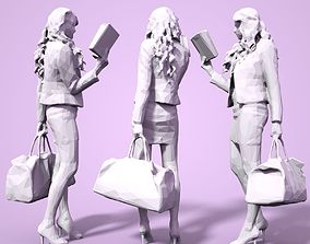 Girl Low poly Sculpture 3D print model lady