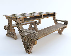 Transformer bench table with carving 3D model