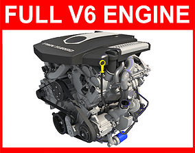 3D model Complete V6 Car Engine with Interior Parts