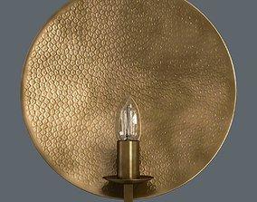 3D Hammered brass round wall light
