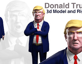 president rigged Cartoon Donald Trump 3d model rigged