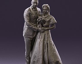 Wedding couple with flowers 0859 3D Print