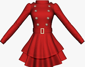 3D model Long Sleeve Womens Dress