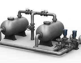 Industrial pipe assembly v2 3D model