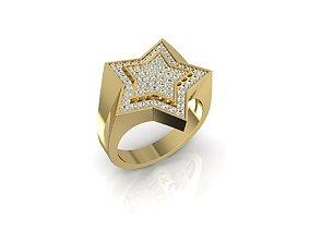 white 3D printable model Ring STAR