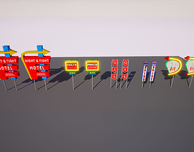 3D asset Retro Billboards-Signs Pack
