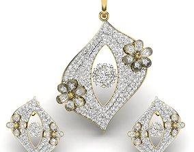 Women pendant-earrings set 3dm render detail diamond