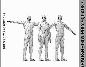 Male Hero Base Mesh with Detaied Head and Limbs 3D asset 2