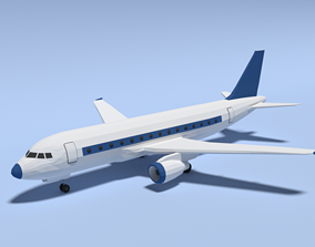 Low Poly Cartoon Airbus A320 Airplane 3D model