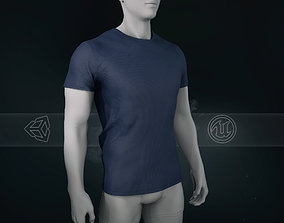 Slim Fit Blue T-Shirt 3D asset
