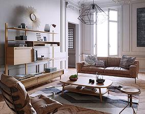 Mid Century interior scene 3D model