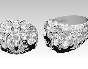 3D print model Safari Animal Ring Monkey Rhinoceros 2