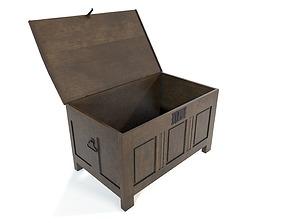 3D model VR / AR ready Medieval chest