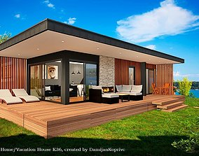 mobile home vacation house tiny house on 36m2 3D asset