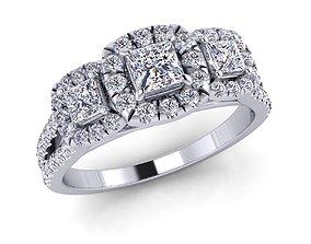 3D printable model gold gem Woman Ring