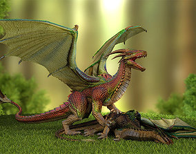 3D model animated Fantasy Dragon