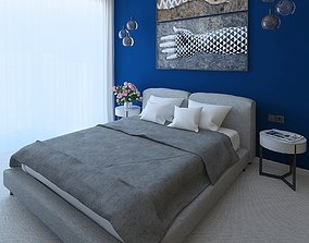 Wonderful bedroom with an expressive blue wall 3D model