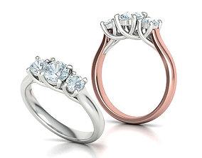 Trellis Three Stone Engagement Ring Two Color Design