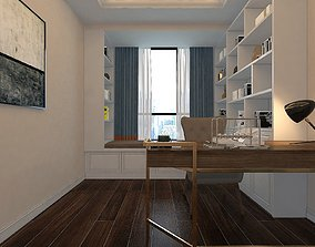Home Office with Window Sill Seat 3D