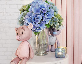 3D asset Decorative set with hydrangea and bears