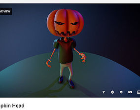 Pumpkin Head Cartoon 3D model rigged