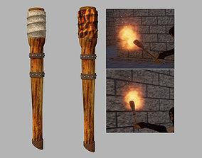 Torch Medieval Wooden 3D Game Asset realtime