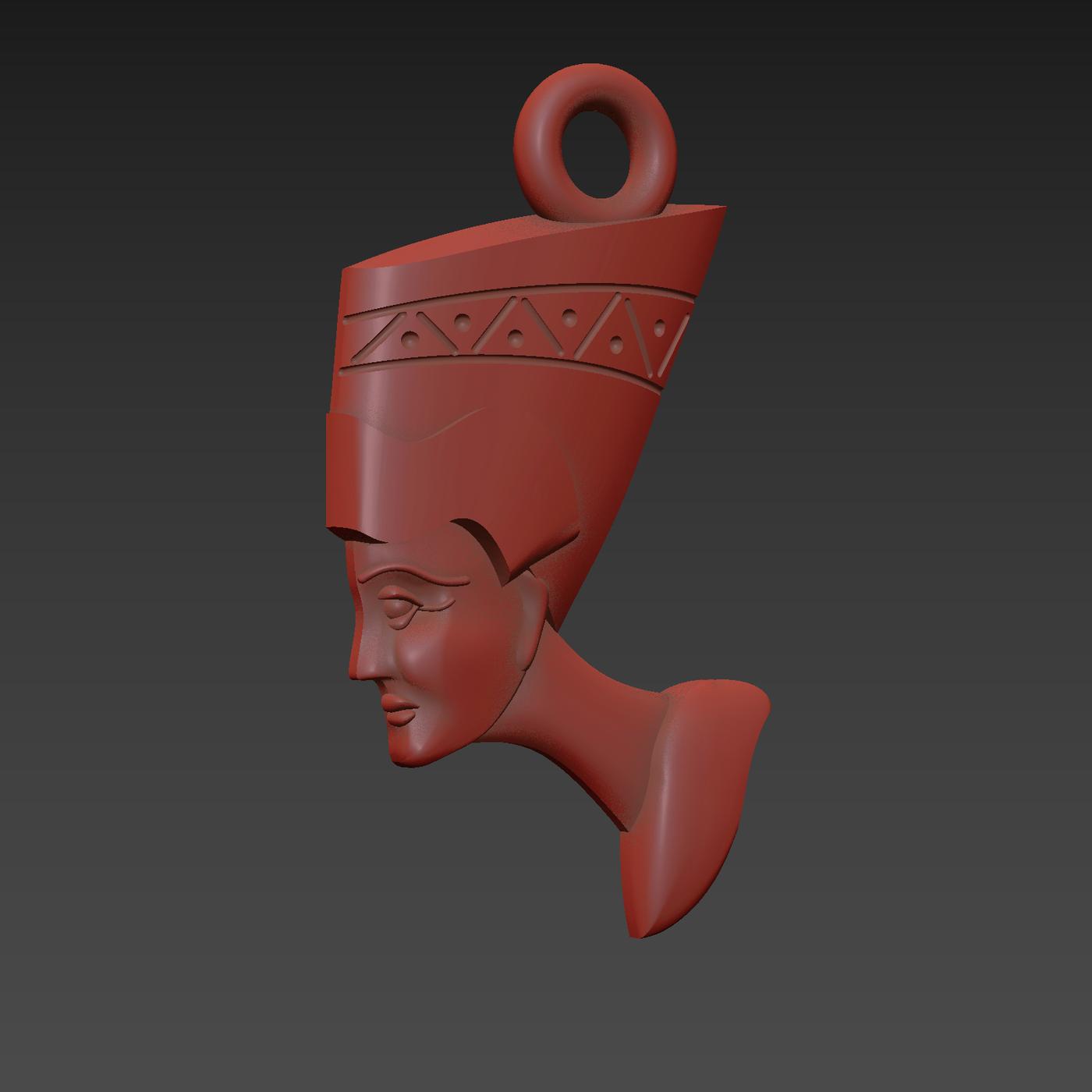 Nefertiti Egyptian human face symbol pendant jewelry gold necklace medallion 3d print model