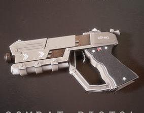 3D asset animated Sci-fi Futuristic Combat Pistol