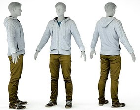 Male Casual Outfit 3 Hoodie Pants Sneakers 3D asset