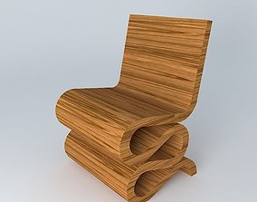 Wiggle Side Chair wooden 3D model