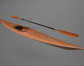 3D model Wooden Kayak with Paddle