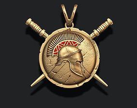 3D printable model Spartan Helmet Shield Sword pendant