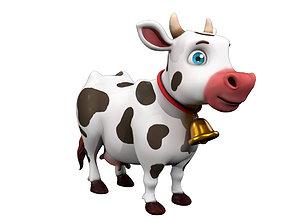 3D asset realtime Cartoon Cow