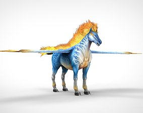 3D asset Animals low polygon flying Horse