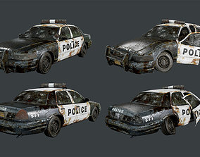 Vehicle Abandoned Wrecked Police Car Game Ready 3D model