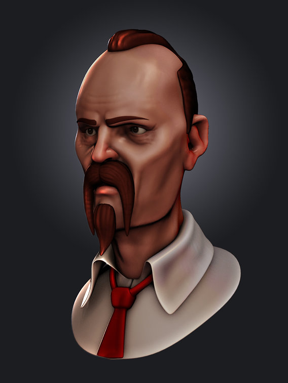 Stylized Angry Man Sculpt Character