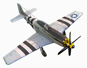 3D model United States American fighter aircraft P-51D-5