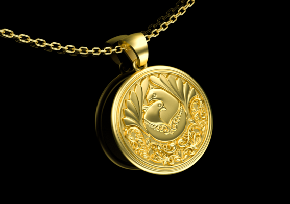 Two doves in love Pendant jewelry Gold 3D print model