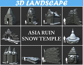 3D model Low poly Snow Ruin Asia Temple Pack