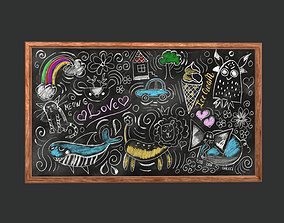 3D model game-ready Funny Chalkboard Game Ready