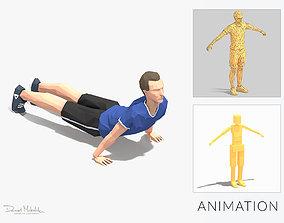 Hindu Pushups Exercise Man Animation 3D model