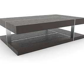 Two Tiered Wood and Metal Coffee Table 3D asset