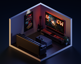 3D asset Low Poly Isometric Room 1