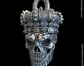 3D printable model King skull with crown vol1 pendant