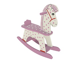 Rocking horse wooden toy 2 3D model