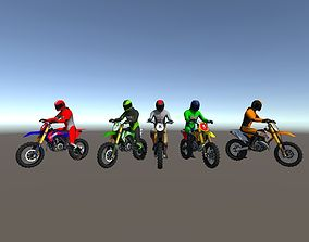 5 Low Poly Dirt Bike With Rider 3D asset