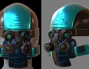 Gas mask helmet 3d model scifi Low-poly uv PBR