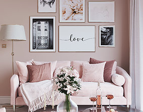 Realistic Scandinavian Living Room Set Pink Love 3D