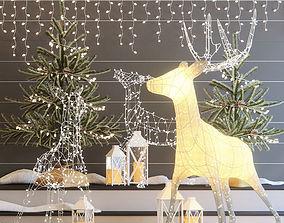 3D Christmas deers
